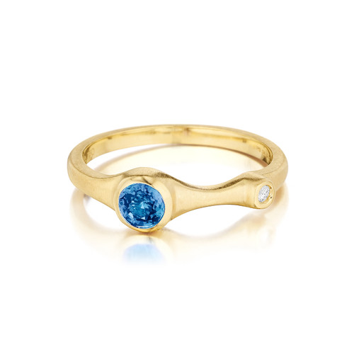 Blue Sapphire and Diamond Stack Ring