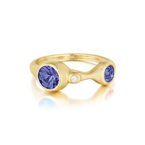 Double Blue Sapphire and Diamond Stack Ring