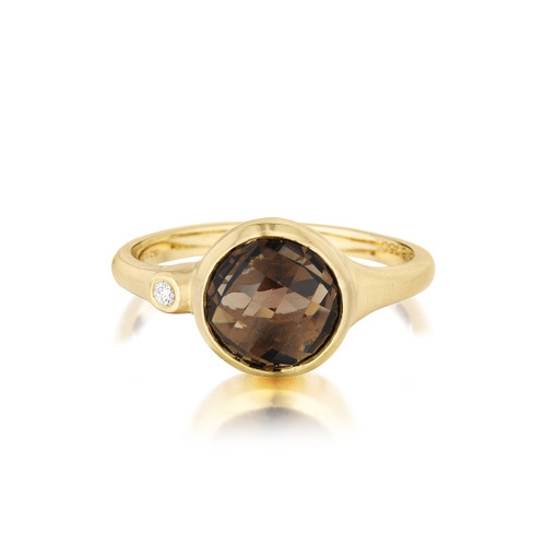 Smoky Quartz and Diamond Accent Stack Ring