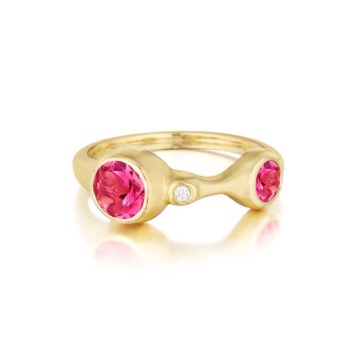 Double Red Spinel and Diamond Stack Ring
