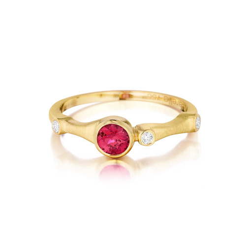 Red Spinel and Diamond Trio Stack Ring