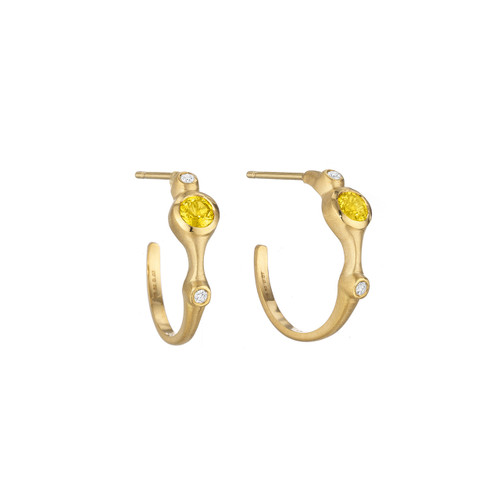 Yellow Sapphire and Diamond Stack Mini Hoop Earrings