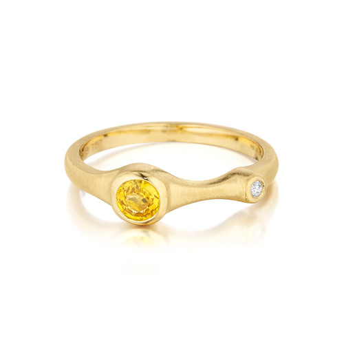 Yellow Sapphire and Diamond Accent Stack Ring