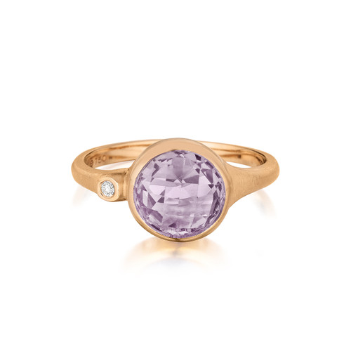 Rose de France and Diamond Accent Stack Ring