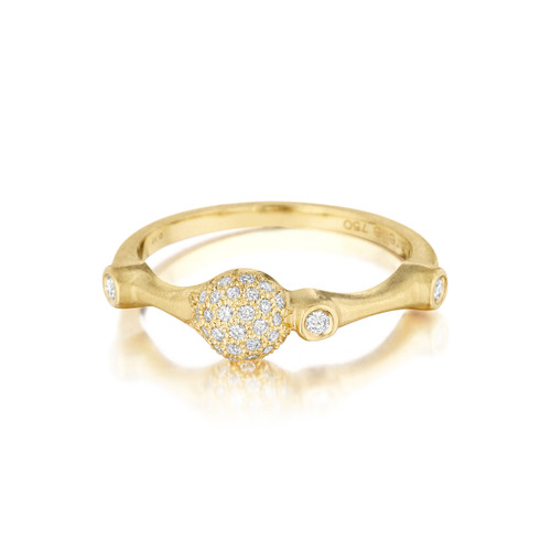 Yellow Gold Pave Diamond Trio Stack Ring