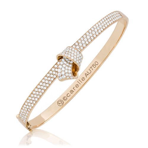 Knot Pave Diamond Bangle in Rose Gold