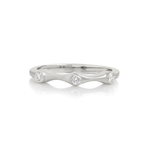 Diamond Three Stone Stack Ring in White Gold