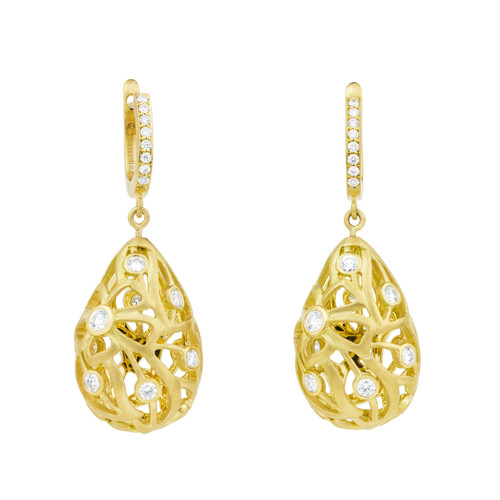 Florette Diamond Earrings in Yellow Gold