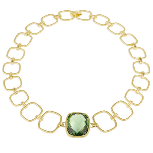 Interlinks Green Quartz Cushion Necklace