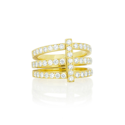 Moderne Pave Diamond Trio Ring