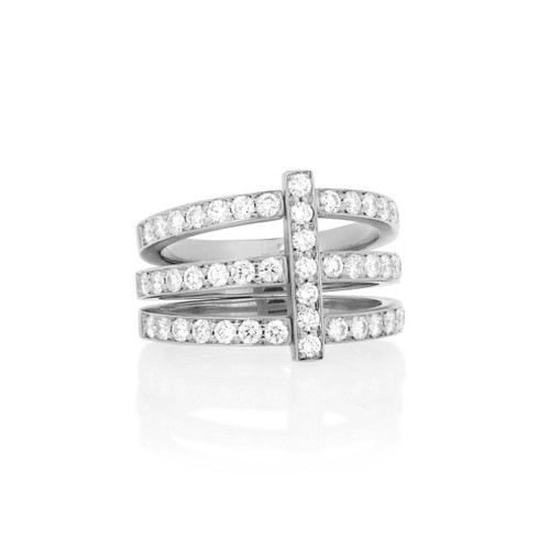 Moderne Pave Diamond Trio Ring in White Gold