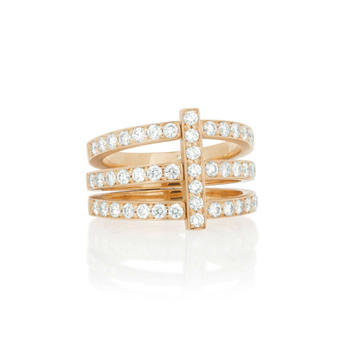 Moderne Pave Diamond Trio Ring in Rose Gold