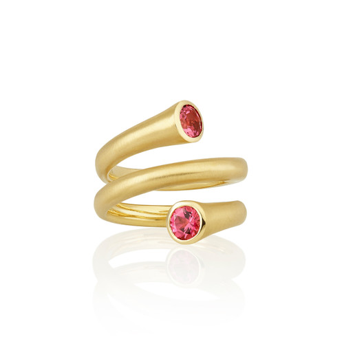 Whirl Red Spinel Spiral Ring