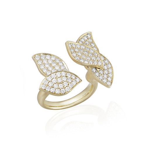 Lotus Pave Diamond Between the Finger Ring