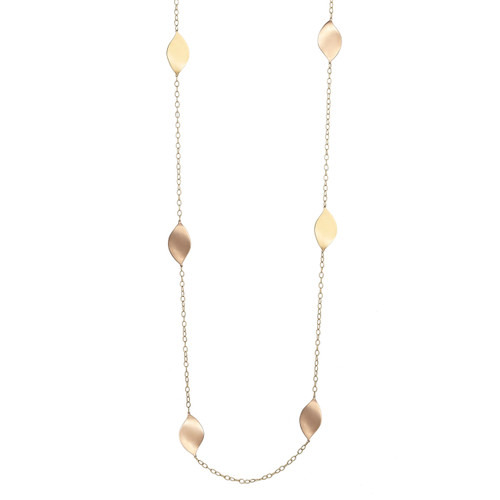 Lotus Rose and Yellow Gold Long Necklace