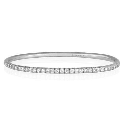 Moderne Pave Diamond Bangle in White Gold