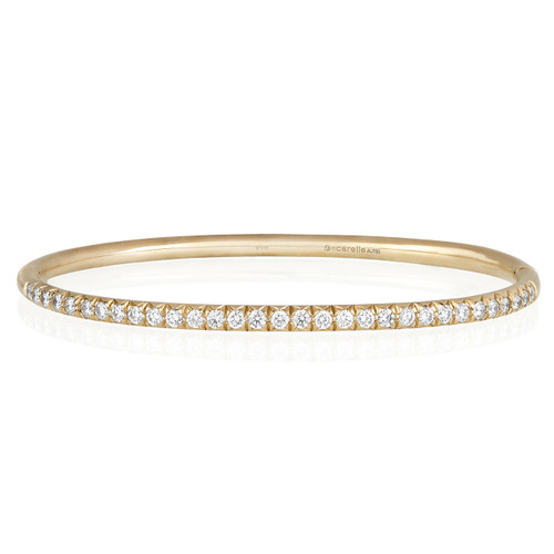 Moderne Pave Diamond Bangle in Rose Gold