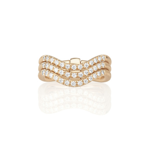 Moderne Trio Wave Ring in Rose Gold