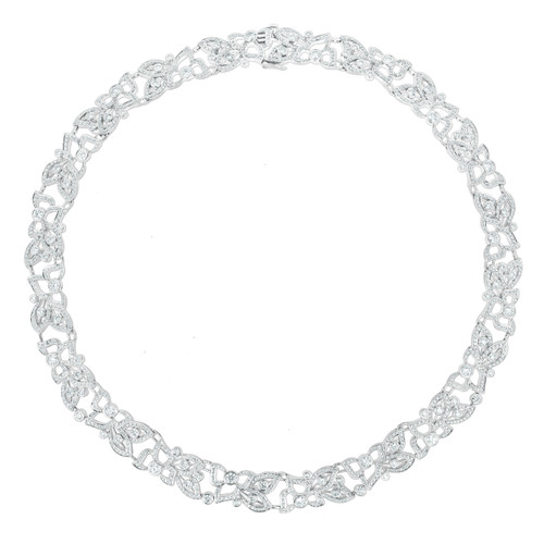 Florette Pave Diamond Wreath Necklace