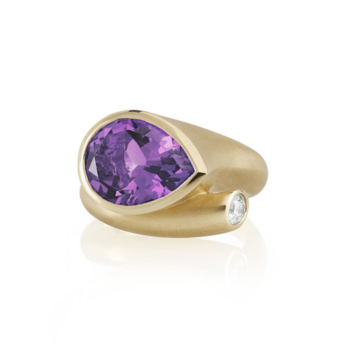 Large Whirl Amethyst Ring