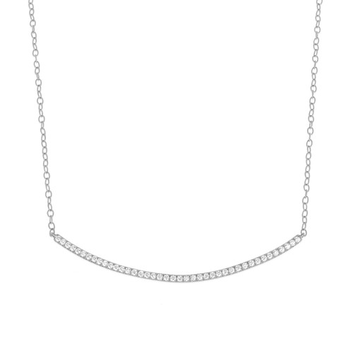 Moderne Pave Diamond Bar Necklace in White Gold