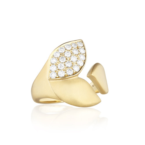 Lotus One Leaf Pave Diamond Wrap Ring