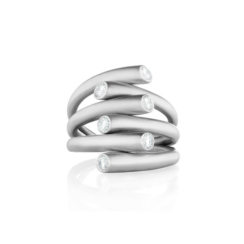 Whirl Diamond Ring in White Gold