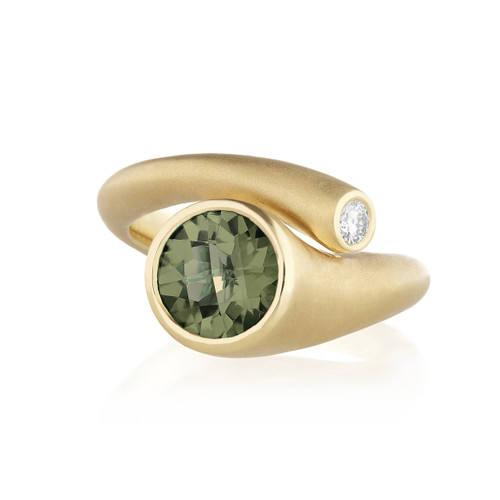 Whirl Green Tourmaline and Diamond Ring