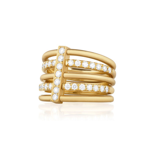 Moderne Hexa Alternating Pave Diamond Ring