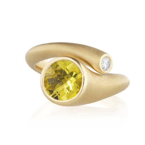 Whirl Yellow Beryl and Diamond Ring