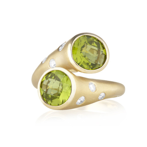 Whirl Peridot and Pave Diamond Ring