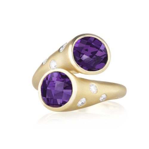 Whirl Amethyst and Pave Diamond Ring