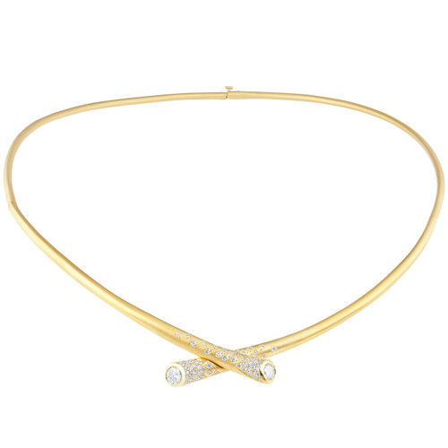 Whirl Scattered Diamond Collar Necklace