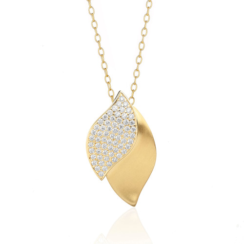 Lotus Pave Diamond Pendant on Gold Chain