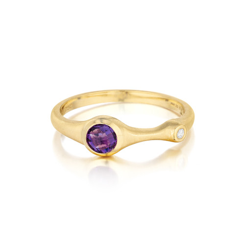 Amethyst and Diamond Stack Ring
