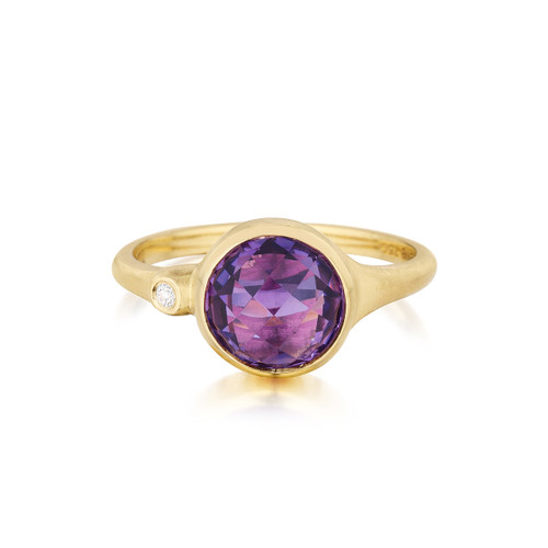 Amethyst and Diamond Accent Stack Ring
