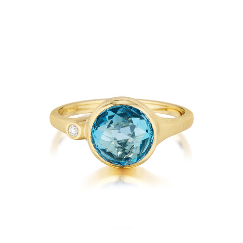 Blue Topaz and Diamond Accent Stack Ring in Yellow Gold