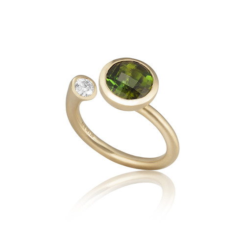 Large Whirl Green Tourmaline Martini Ring