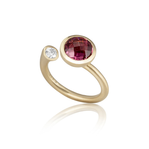 Large Whirl Pink Tourmaline Martini Ring