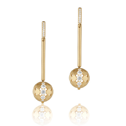 Disco Dots Diamond Stick Earrings
