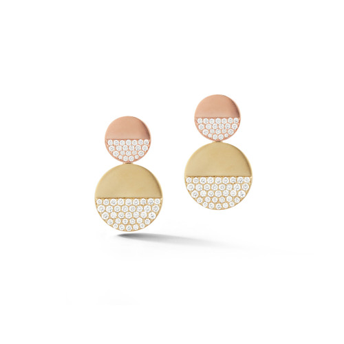 Disco Dots Yellow and Rose Gold Pave Diamond Earrings