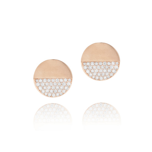 Disco Dots Rose Gold Pave Diamond Stud Earrings