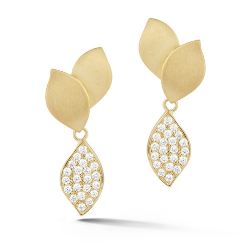 Lotus Pave Diamond Dangle Earrings