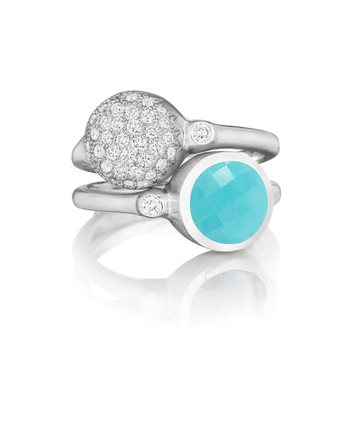 Turquoise and Diamond Accent Stack Ring in White Gold