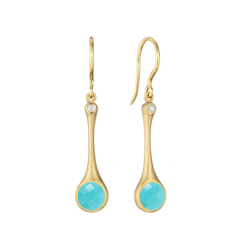 Turquoise and Diamond Skinny Stack Earrings