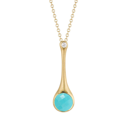 Turquoise and Diamond Skinny Stack Pendant