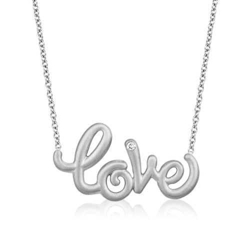 Whirl Love Necklace in White Gold