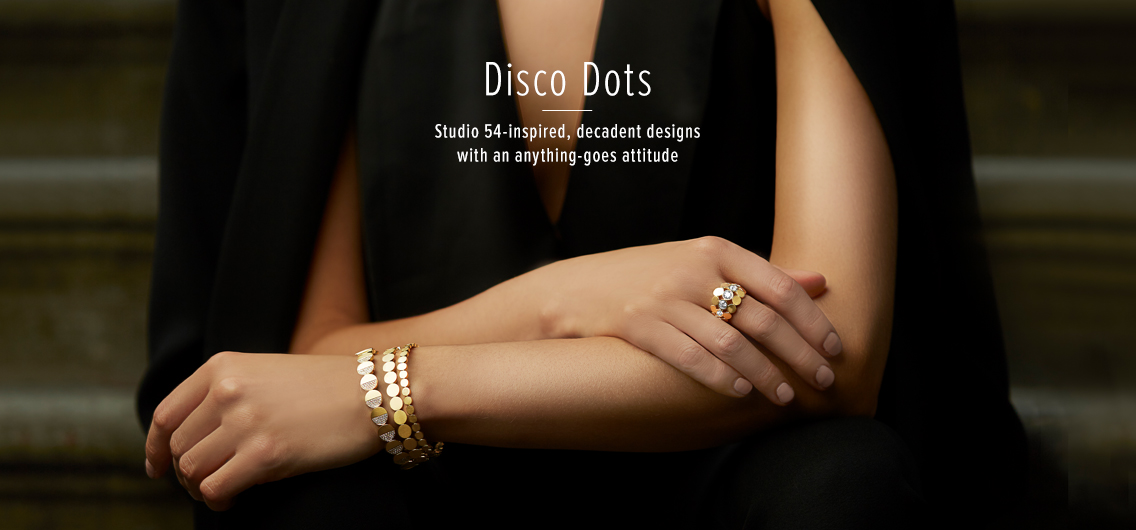 Disco Dots; Studio 54-inspired, decadent designs with an anything-goes attitude