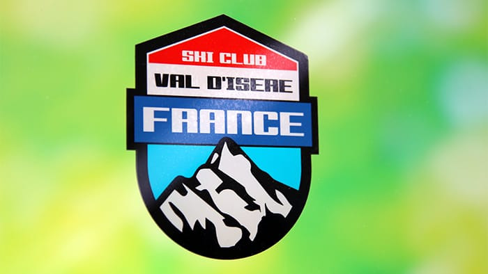 Ski club France front adhesive sticker on a glass window