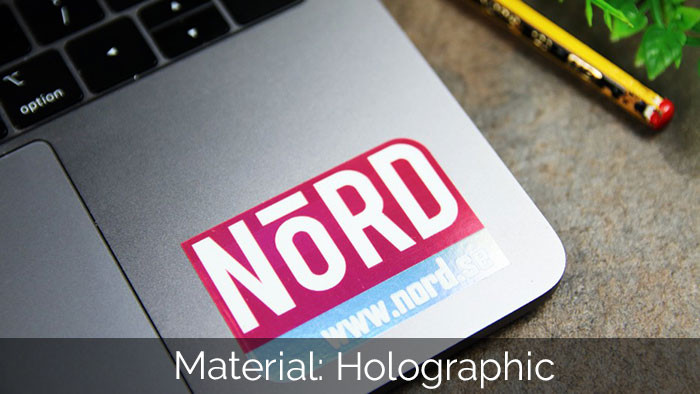 Nord holographic die cut sticker applied to a laptop